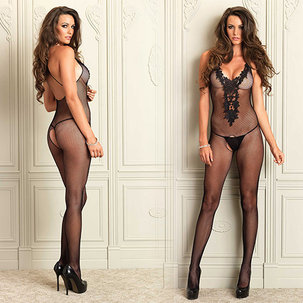 Crotchless Bodystocking With Embroidery Мрежесто боди с дантелено деколте