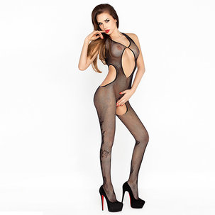 Bodystocking with openings Боди с отвори и флорални мотиви